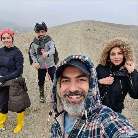 مهدی پاکدل و همسرش در گردش