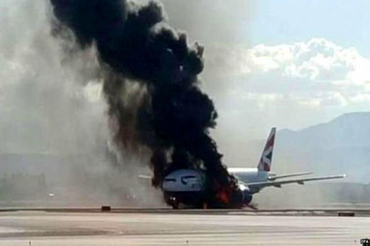 آتش سوزی هواپیمای ماهان + فیلم