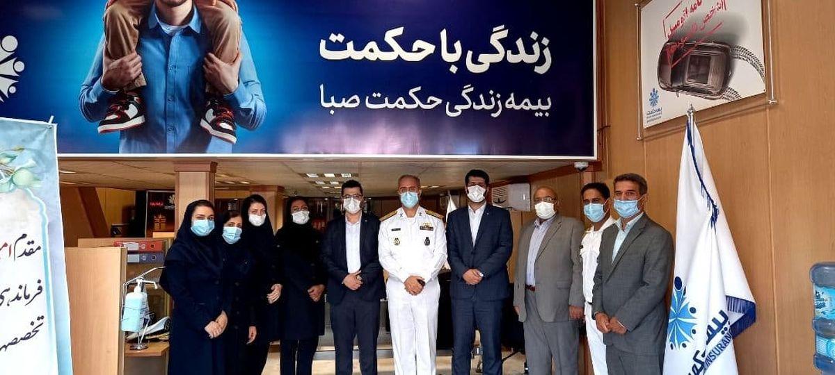 دیدار رئیس شعبه مرکزی رشت بیمه حکمت با فرمانده آموزش  تخصص های دریایی باقرالعلوم (ع) نداجا